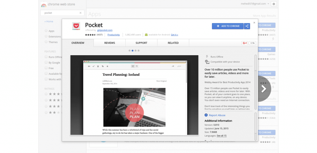 Browse Online Content Using Pocket
