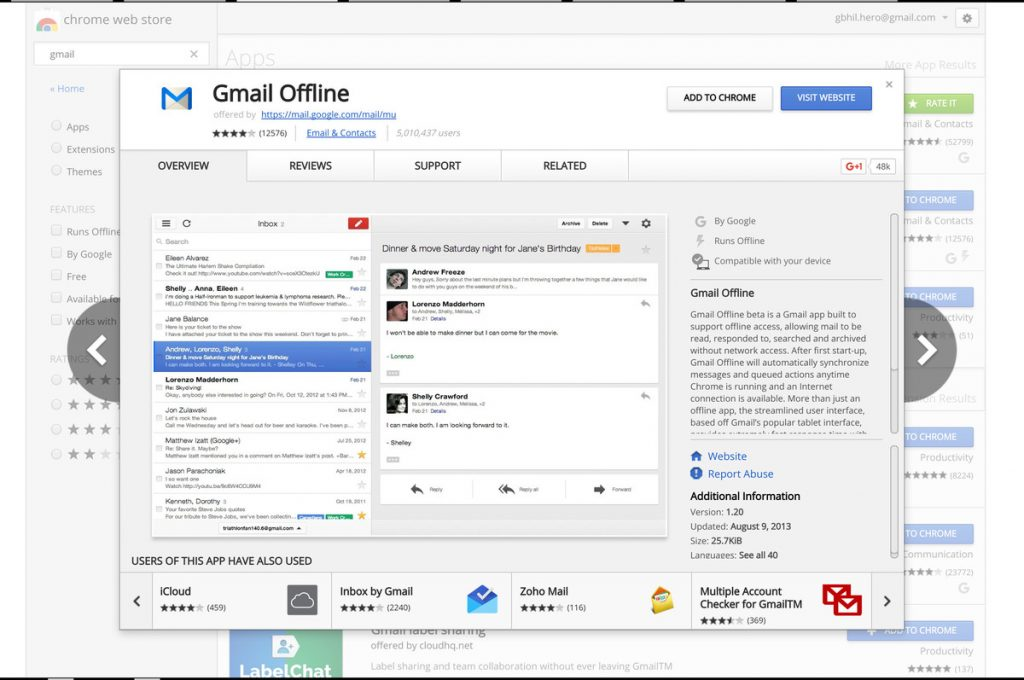Use gmail offline on Chromebook
