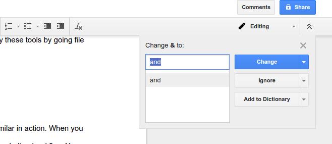 Smart spell checking in google docs