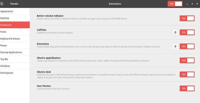 Ubuntu Gnome Tweak Tool Extension Tab