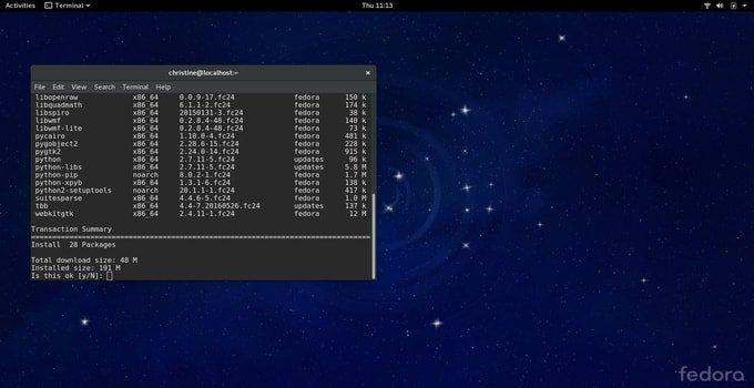 Fedora Linux server