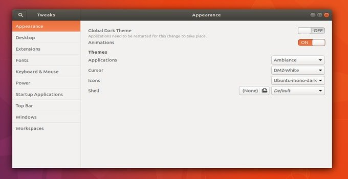Gnome Tweak tool Appearance