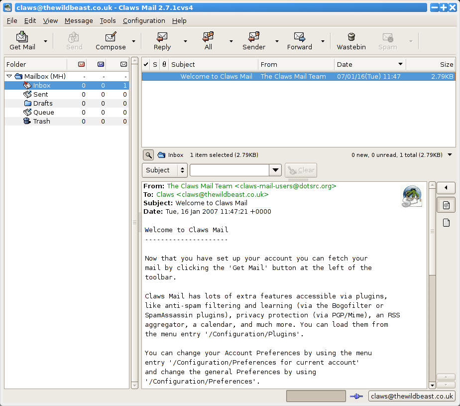 Claws Mail - A GTK+ Based Free Email Client for Linux