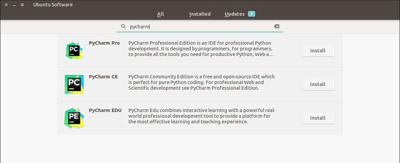 PyCharm from the Ubuntu Software Center
