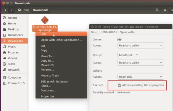 Krita appimage install