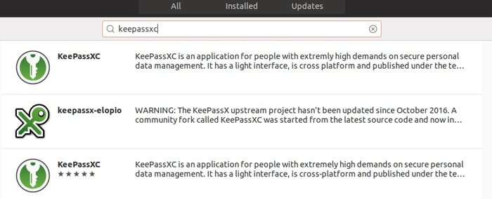 KeePassXC on Ubuntu software center