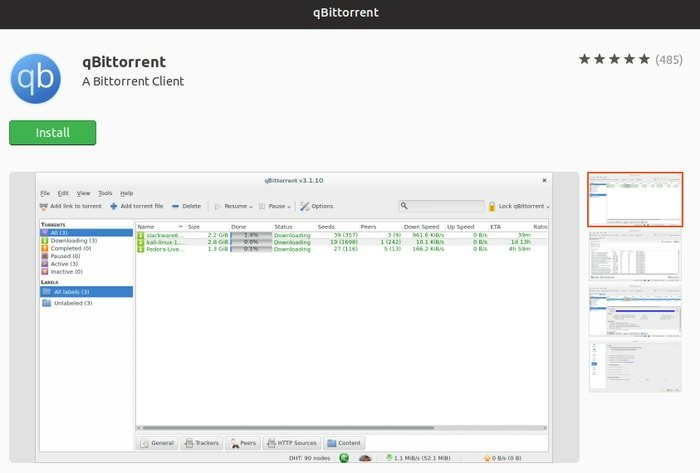 qBittorrent in Ubuntu Software Center
