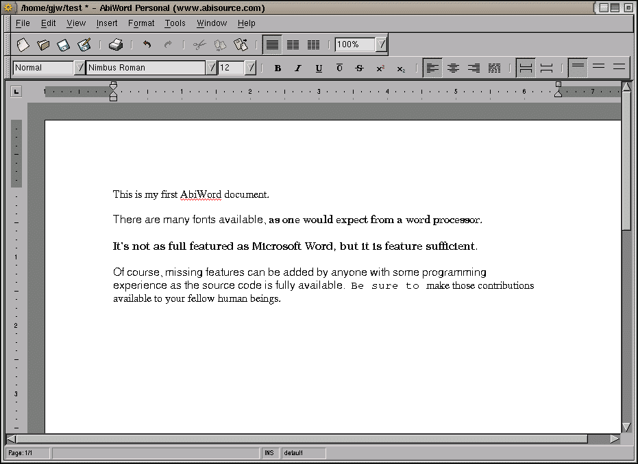 AbiWord: A Word Document Program