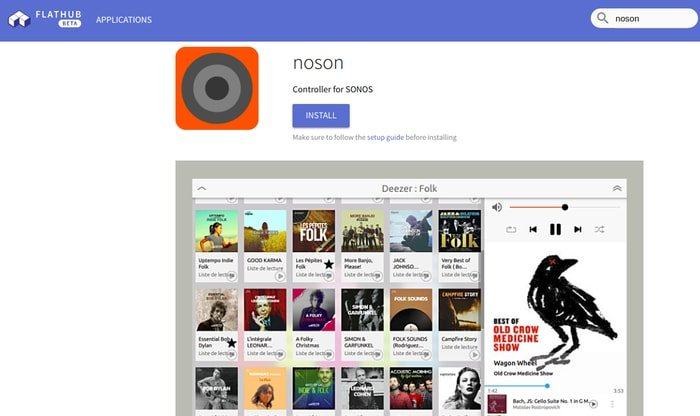 Install Noson app from Flathub Repository