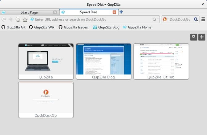 Qupzilla browser for Ubuntu Linux