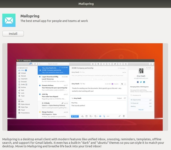 Short app description with install button in Ubuntu software center