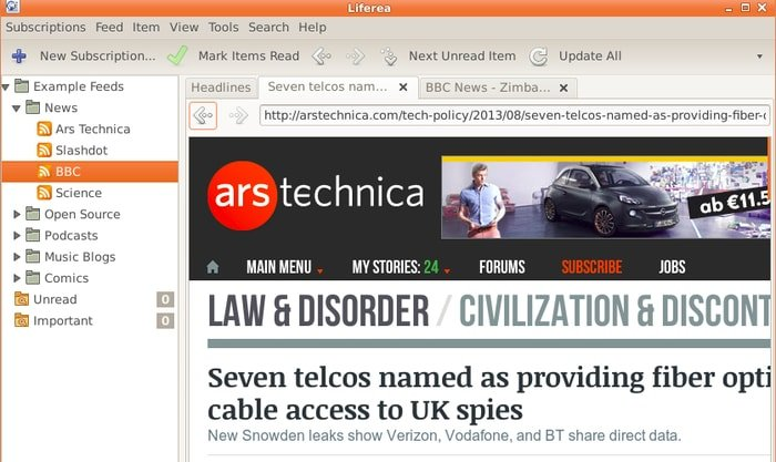 Browse the web with tabs inside Liferea.