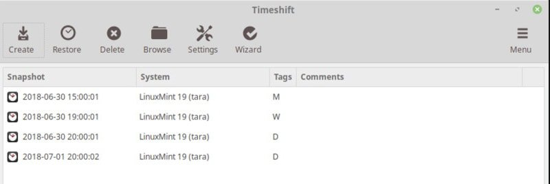 Create System Snapshot using Timeshift Software