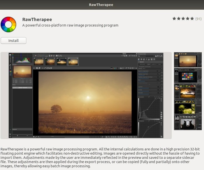 How to Install Adobe Lightroom Alternative RawTherapee (v5.4) in Ubuntu Install Adobe Lightroom Alternative RawTherapee from Ubuntu Software Center