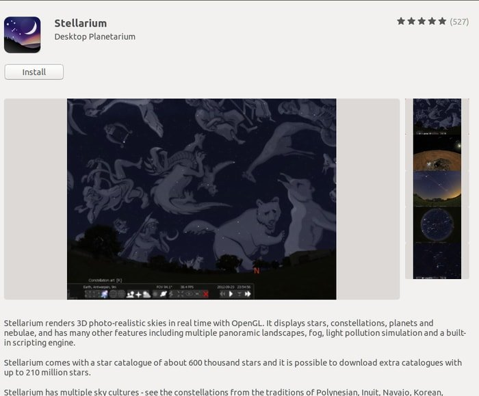 Install Stellarium from Ubuntu software center