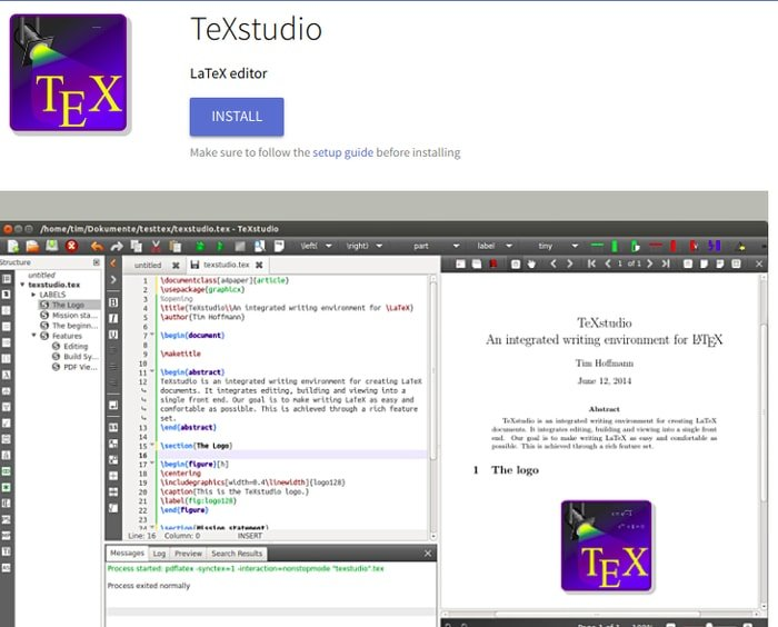 Install TeXstudio from FlatHub app store
