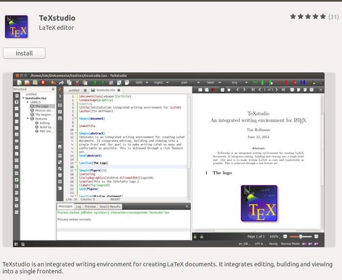 Install TeXstudio from Ubuntu software center