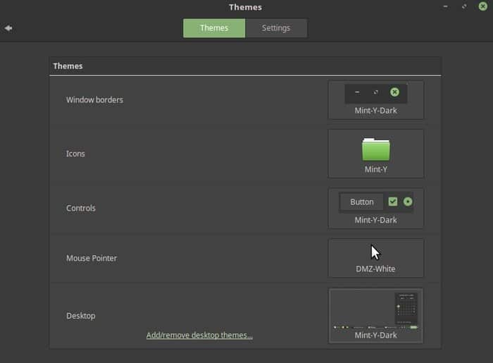 Linux Mint Theme Setting