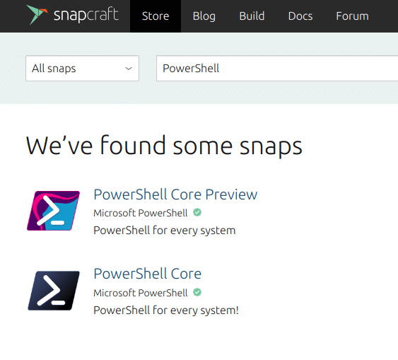 Microsoft PowerShell in Official Snap Store