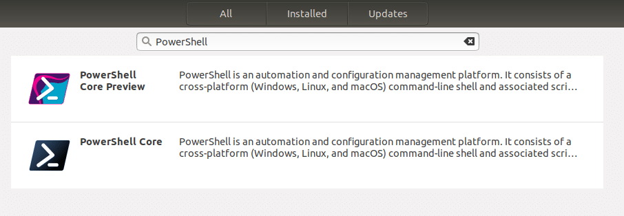 Microsoft PowerShell in Ubuntu software center as snap package