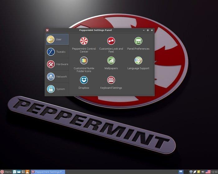 Peppermint setting panel