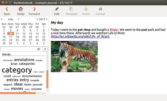 mix rednotebook a modern and free diary and journal software for