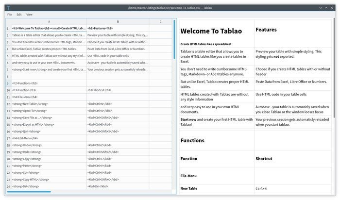 Tablao – An Open-source and Cross-platform HTML Table Editor