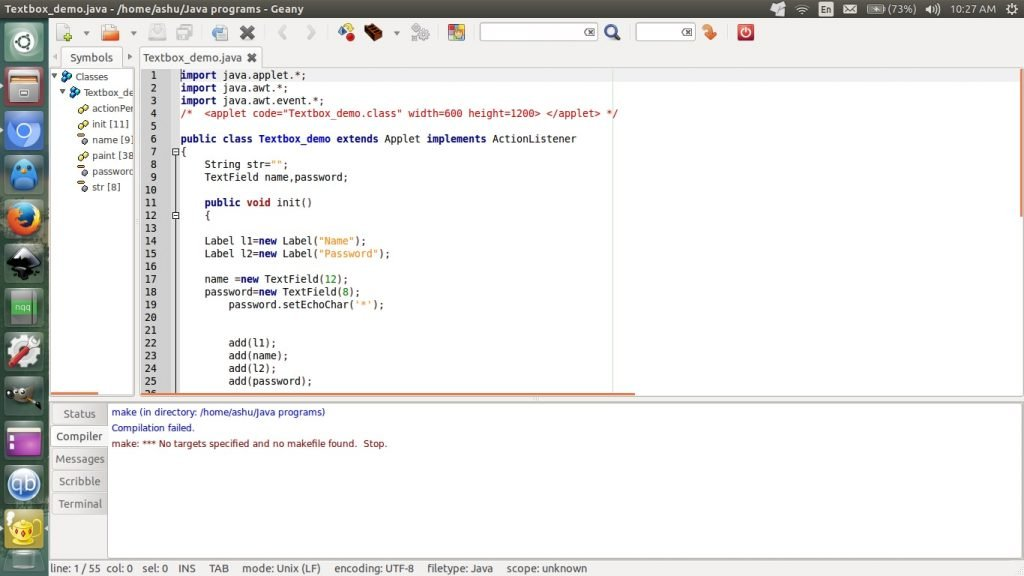 Geany javascript ide