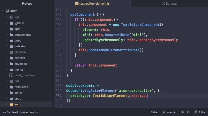atom javascript text editor