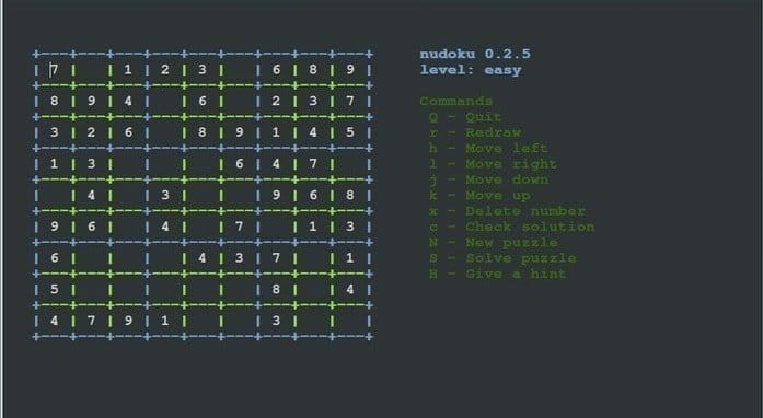 Nudoku - Linux terminal console games