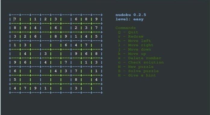 Nudoku - Linux terminal console games