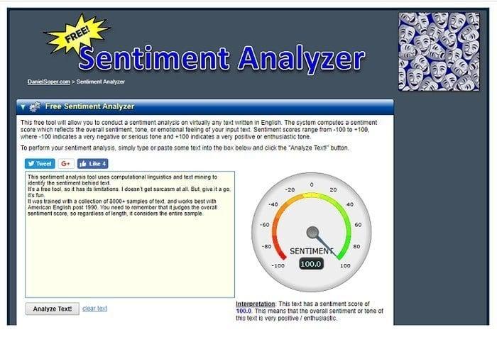 sentiment analysis of social media