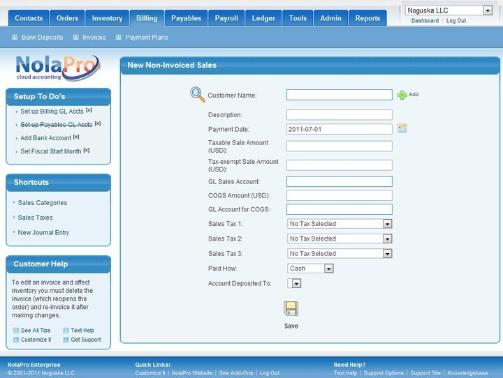 NolaPro Linux accounting software
