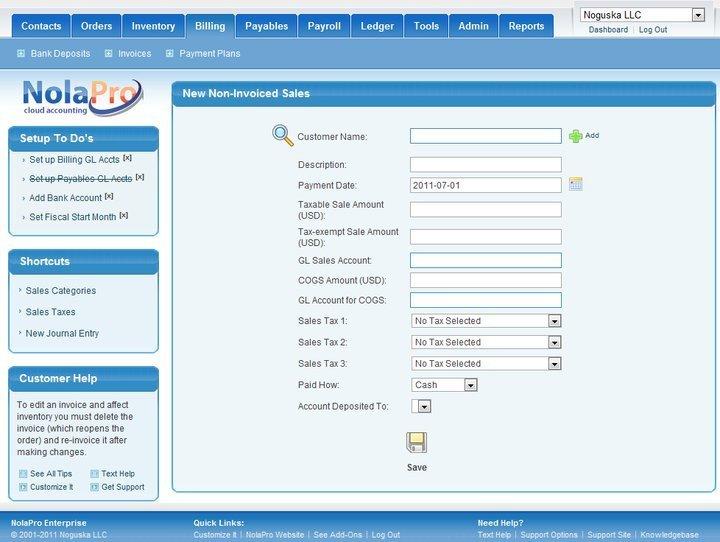 NolaPro Linux accounting software