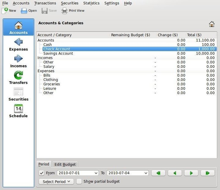 Eqonomize finance software for Linux