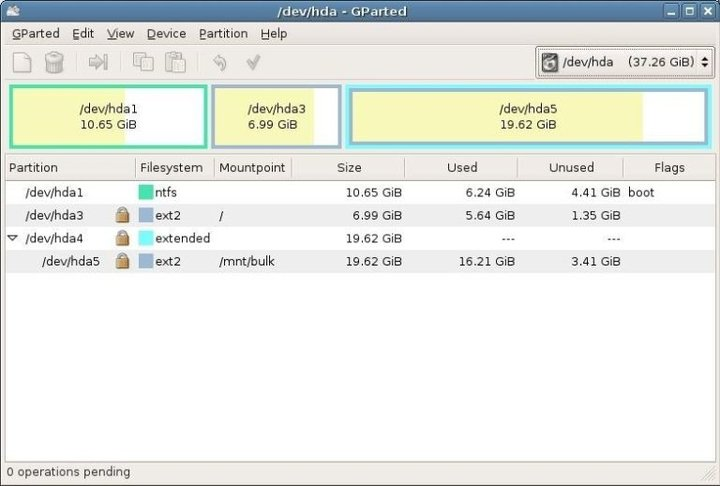 GPArted Linux disk cloning software