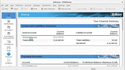 KMyMoney finance management software
