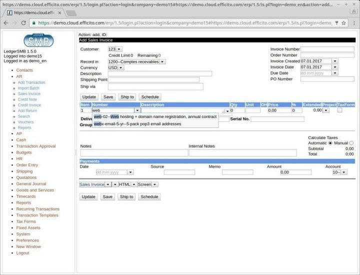 LedgerSMB linux accounting software
