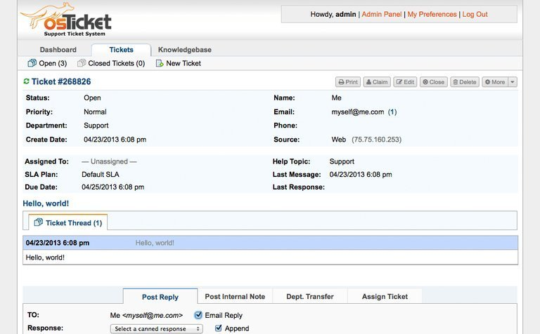 osTicket help desk ticketing software