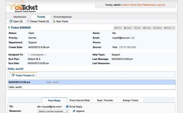 osTicket help desk ticketing software