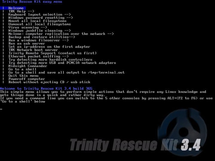 TRK disk cloning software for Linux