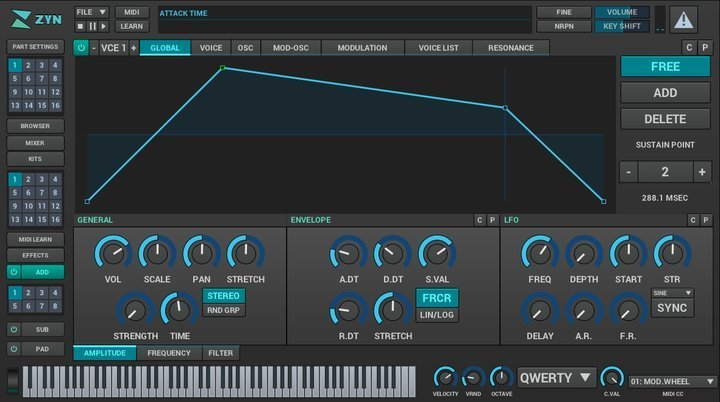 zynaddsubfx in Linux synthesizers