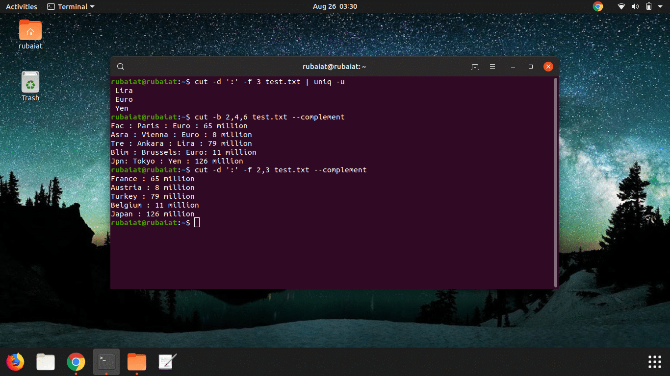 Misc Linux Cut command in Unix
