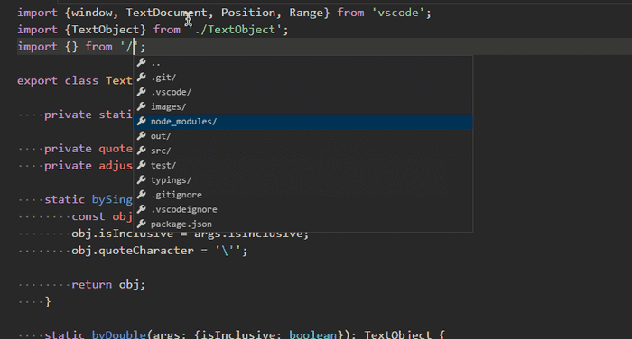 Path-Intellisense in vs code extensions