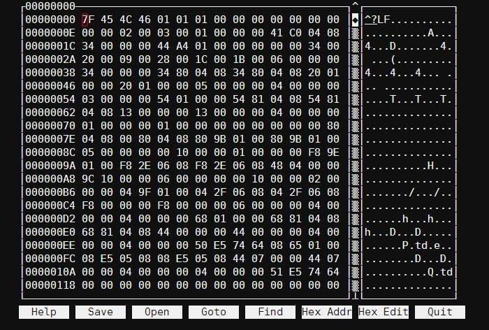 hexcurse Linux hex editor