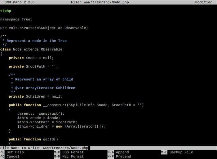 GNU nano editor