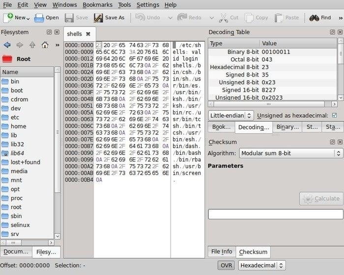 okteta Linux hex editor