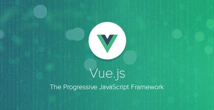 Logo Vue Js with title the progressive Jacascript frameworks
