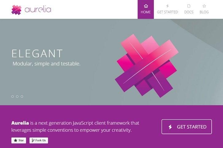 Homepage Aurelia JavaScript Frameworks