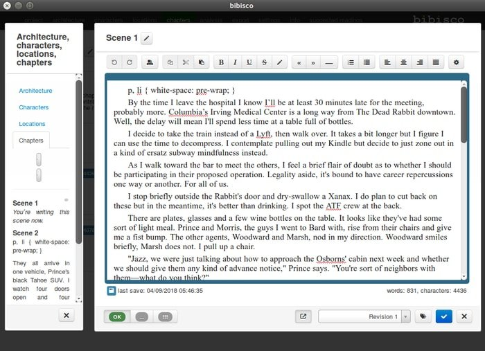bibisco-open source script writing software